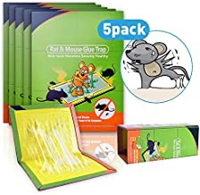 5 Pack Mouse Glue Traps, Big Size Glue Boards, Extra Sticky Traps for Mice&Rats, Effective Mouse Traps Glue Boards - Safe, Mess-Free & Non-Toxic, Catch Mice Cockroach Ant Spider for Indoor and Outdoor