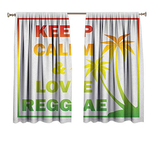 Rasta Window Curtain Panels Keep Calm and Love Reggae Quote in Ombre Rainbow Colors Music Themed Blackout Window Curtain for Bedroom 42x63 Inch