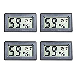 Veanic 4-Pack Mini Digital Electronic Temperature Humidity Meters Gauge Indoor Thermometer Hygrometer