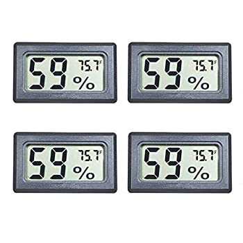 Veanic 4-Pack Mini Digital Electronic Temperature Humidity Meters Gauge Indoor Thermometer Hygrometer LCD Display Fahrenheit  ℉  for Humidors Greenhouse Garden Cellar Fridge Closet