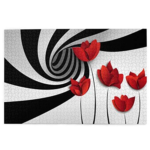 Rompecabezas de 1000 Piezas,Rompecabezas de imágenes,Flor de papel rojo sobre fondo de remolino blanco y negro,Juguetes puzzle for Adultos niños Interesante Juego Juguete Decoración Para El Hogar