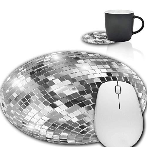Mauspad und Kaffee-Untersetzer, silberne Discokugel-Mauspad, rutschfestes Gummi, Gaming-Mauspad, runde Mauspads für Computer und Laptop