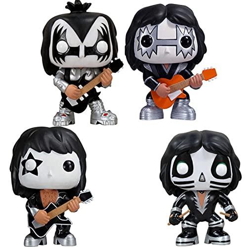 QIYV Pop 4Pcs / Kiss Band Kawaii Q Versión Nendoroid Anime Figura 04/05/06/07 # Figuras De Acción De Vinilo Pop En Caja Juguete 10Cm, Regalos De Cumpleaños para Niños
