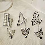 3 Packs Hair Clips,Large Metal Hair Claw Clips, Hollow Non-slip Butterfly Pendant Hair Catch Jaw Clamp Hair Accessories for Women,Butterfly(Silver)