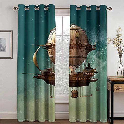 ZXDYLY Blackout Curtain 2 Panels Set Spaceship Soft Solid Thermal Insulated Ring Top Decorative Darkening Curtain with Grommets for Living Room Bedroom Nursery Room Full Size W57xh96.46 Inch