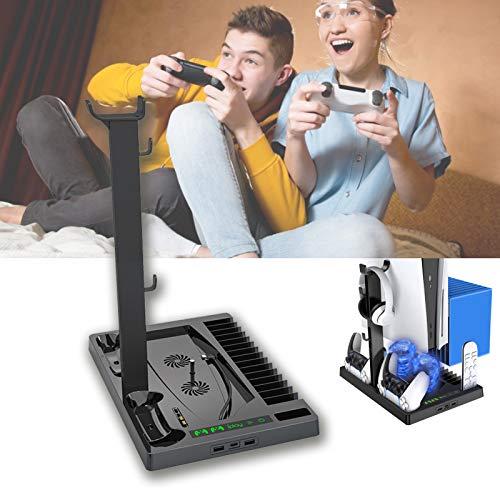 Ventilador de refrigeración PS5, Enfriador PS5, Soporte vertical para PlayStation 5 Digital Edition / Ultra HD Game Console con Indicador de cargador dual Puertos USB para el controlador PS5 DualSense