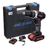 MISDD Trapano Elettrico Cordless Cacciavite 2 velocità 36V Cordless Drill LED di Regolazione della Luce elettrica Drill cacciavite Chiave Powe Strumento con Il Tool Box (Color : 2 Batteries)