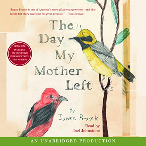 The Day My Mother Left                   Written by:                                                                                                                                 James Prosek                               Narrated by:                                                                                                                                 Joel Johnstone                      Length: 4 hrs and 30 mins     Not rated yet     Overall 0.0