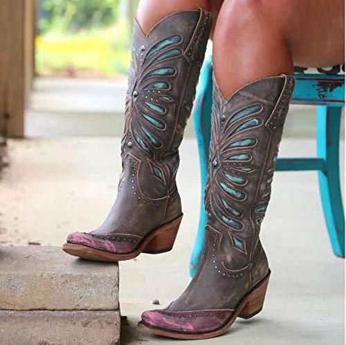 Stivali Donna Scarpe retrò PU Casual Ankle Boots Tacchi Bassi Zip Stivali da Moto da Moda Rivetti Spessi e Alti da Gladiatore,B,41