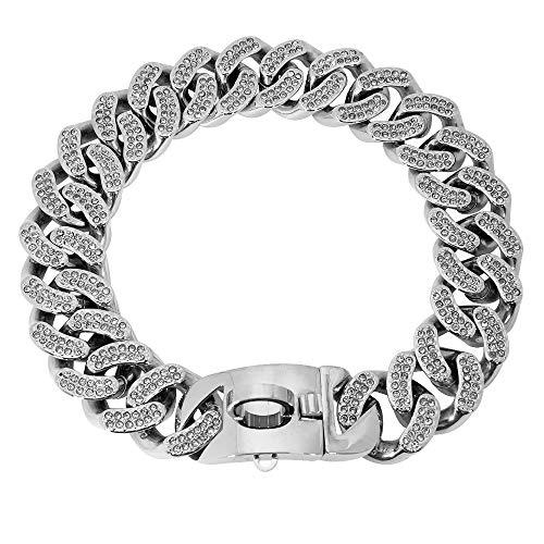 WWHPVP Collar De Perro De Metal, Cadena De Acero Inoxidable Collar De Martingale Collar De Perros para Perro Medio Large Doberman,Silber,50cm