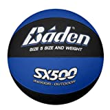 Baden Junior SX Range Composite Rubber Basketball, Indoor and Outdoor Ball, Blue and Black, Size 5