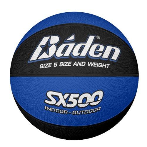 Baden Junior SX Range Basketball, Gummi, für Innen- und Außenbereich, Blau und Schwarz, Größe 5