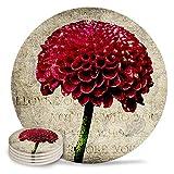 Posavasos de cerámica para bebidas, diseño de flores de dalia vintage, con piedra absorbente, de cerámica con parte trasera de corcho para tazas y tazas, posavasos de mesa redonda roja (juego de 4)
