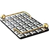 NEHARO Bandeja de metal y madera para decoración del hogar, bandeja de servir decorativa con asas diseñadas para café, cena o fiesta (color: dorado, tamaño: 45 x 29 x 6,5 cm)