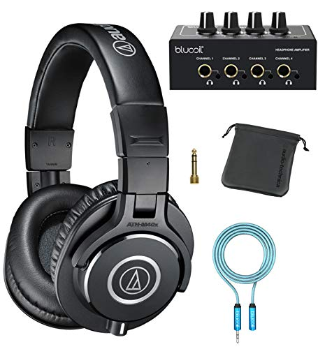 Audio-Technica ATH-M40x Professional Studio Monitor Headphones for DJ Monitoring, Studio Tracking and Mixing (Black) Bundle with Blucoil 4-Channel Headphone Amplifier, and 6
