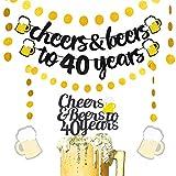 JeVenis Juego de 4 banderines con purpurina para 40 años con alegría y cervezas a 40 años para decoración de tartas para 40 cumpleaños, bodas, aniversarios y fiestas