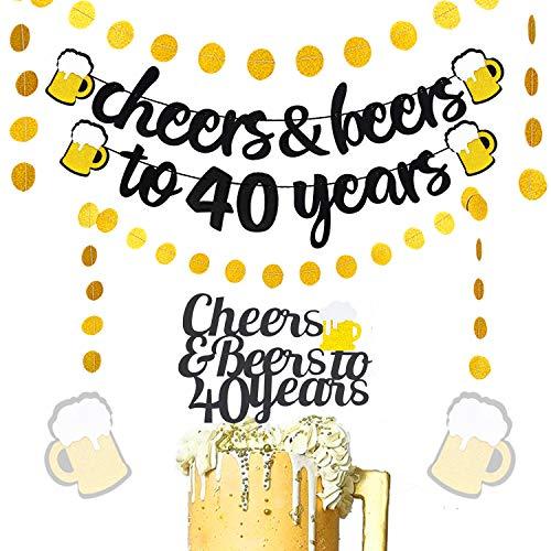 JeVenis 4er Set Glitter Cheers & Beers bis 40 Jahre Banner mit Cheers & Beers bis 40 Jahre Cake Topper für 40. Geburtstag Hochzeitstag Party Supplies Dekorationen