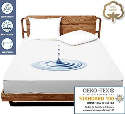 J JIMOO Twin Size Premium Waterproof Mattress Protector,Bed Cover Pad - Smooth - Breathable - Soften - Vinyl Free (White, Twin 39''x75'')