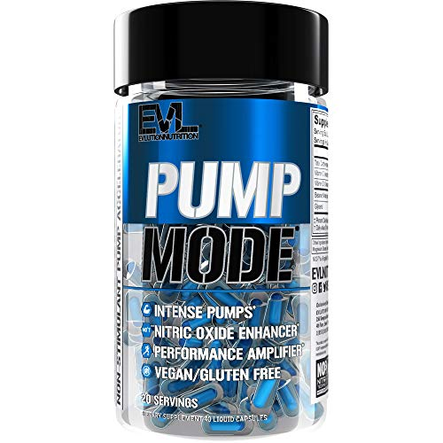 Evlution Nutrition Pump Mode Nitric Oxide Booster to Support Intense Pumps, Performance and Vascularity, Capsules (20 Servings)