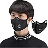SportHome Bicycle Cycling Face Mask Cover Anti-dust Haze Mouth Muffle with Filter Outdoor Sports Ridding Mask for Skiing, Hiking, Running, Cycling (Black)