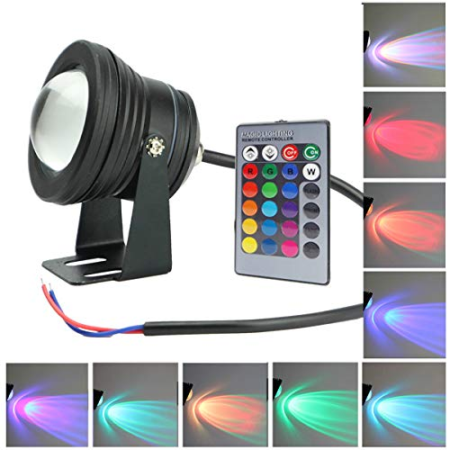 GOESWELL Underwater Light LED Waterproof Flood Light with Remote Control 10w DC12v RGB 16Colors Outdoor Garden Spotlight Landscape Fountain Pond Light Submersible
