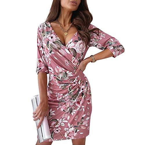Vestido de Fiesta de una Pieza para Mujer Vestido Delgado con Manga Larga Estampado Floral Elegante Vestido de Noche Vestido Formal de Otoño Spring para la Boda del Club (XXL, Rosa)