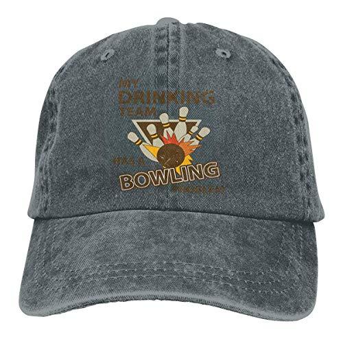 RFTGB Gorras Unisex Accesorios Sombreros Gorras de béisbol Sombreros de Vaquero Drinking-Team-Bowling Denim Baseball Cap, Unisex Vintage Dad Hat, Golf Hats, Adjustable Plain Cap