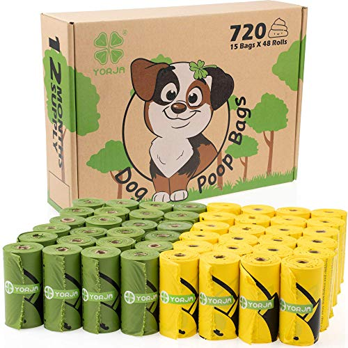 YORJA Hundekotbeutel biologisch abbaubare kotbeutel für Hunde, 720 Stück, auslaufsicher,extra groß,dick und stark