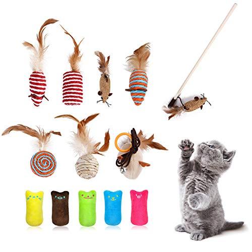 Katzenspielzeug Set, 7Pcs Katze Toys Paket, 5Pcs Spielzeug mit Katzenminze, Katzenminze Kissen Niedlich Plüsch, für Alle Kitten Kuscheln und Spielen Geeignet