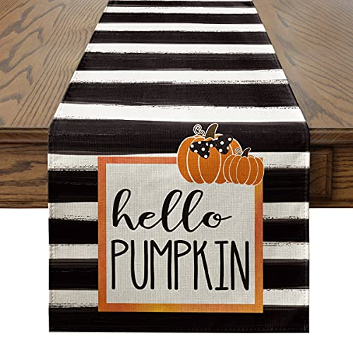 Artoid Mode Watercolor Strips Hello Pumpkin Table Runner, Seasonal Fall Harvest Vintage Kitchen Dining Table Decoration for Indoor Outdoor Home Party Decor 13 x 72 Inch