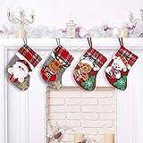 JUYOO Weihnachtsstrumpf Set 4 Stück Personalized Nikolausstiefel für WeihnachtsdekoHängende Strümpfe Nikolausstiefel zum Befüllen und und Aufhängen