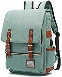 UGRACE Vintage Laptop Backpack with USB Charging Port, Elegant Water Resistant Travelling Backpack Casual Daypacks School Shoulder Bag for Men Women, Fits up to 15.6Inch Laptop in Green