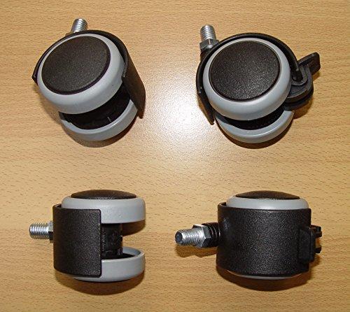 4 Stück Möbelrolle 50mm Hartbodenrolle Gummi Gewinde M8x15 Lenkrollen Feststellbar