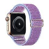 Lobnhot Solo Loop Compatibile con Apple Watch Cinturino 38mm 40mm, Cinturino in Nylon Elastico Regolabile per iWatch Series 6/5/4/3/2/1 SE (38/40MM-Lilla)