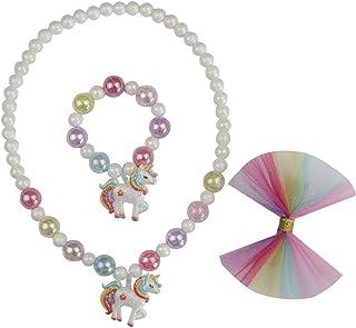 قلادة من Artvine يونيكورن للفتيات هدايا الحفلات قلادة سوار مجوهرات فيونكة شعر للأطفال، مجموعات مجوهرات للبنات الصغار C1