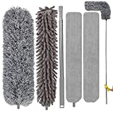 Microfiber Duster 5PCS, Feather Duster Kit with 30-100 Inches Telescoping Extension Pole, Reusable Bendable Dusters, Washable Lightweight Dusters for Cleaning Ceiling Fan, Cobweb, Furniture, Cars