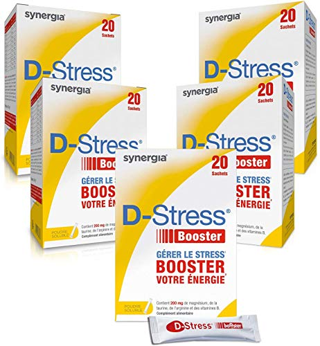 D-Stress Booster Magnésium hautement assimilé, taurine, vitamines B Origine France ➠ Lot de 5