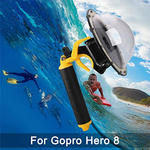 Dome Port for GoPro Hero 8 Black, Diving Transparent GoPro Dome Lens Waterproof Housing with Floaty Hand Grip Underwater Case for GoPro Accessories (Dome for GoPro Hero Eight)