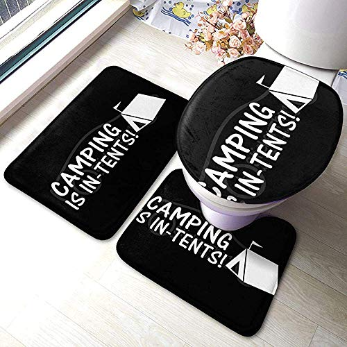 N \ A Camping is in-Tents 3 Piece Bathroom Pads Includes Anti-Skid Pads Bath Mat + Contour + Toilet Lid Cover