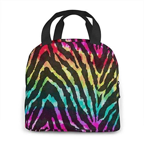 Draagbare Lunch Tas Regenboog Zebra Print Kleurrijke Geïsoleerde Koeler Thermische Herbruikbare Tas Lunch Box Handtas