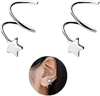 925 Sterling Silver Star Earrings for Women Teen Girls Fashion Wrap Earrings