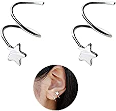 MSECVOI 925 Sterling Silver Star Earrings for Women Teen Girls Fashion Wrap Earrings