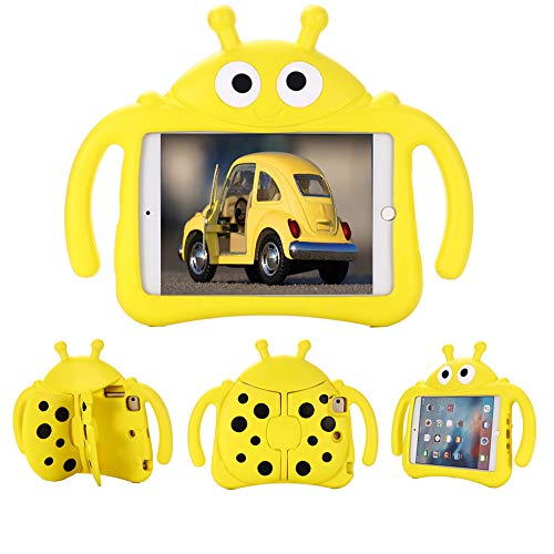 Tading Kids Case for Apple iPad Mini 5/4/3/2/1 7.9 inch Only, Kids Proof Lightweight EVA Foam Stand Cover for iPad Mini, Mini 5 (2019), Mini 4, iPad Mini 3rd Generation, Mini 2 Tablet - Beetle, Yellow