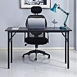 SogesHome 55 inches Folding Computer Desk Folding Table Computer Desk Portable Office Table PC Desk Office Desk Writing Table Small Table, Black, NSDUS-AC5CB-140