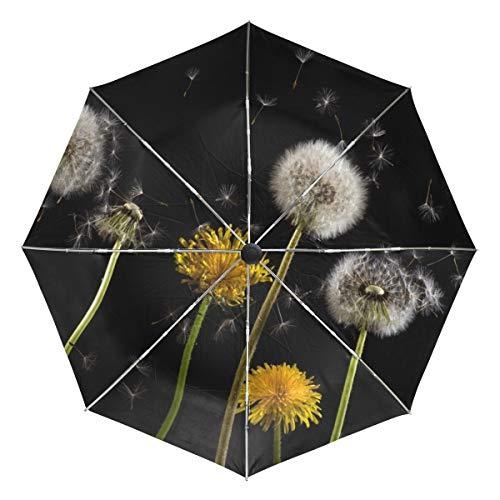 MONTOJ, Regenschirm mit Pusteblume und Sonnenschirm, für Reisen, UV-Schutz, mit automatischer Öffnung