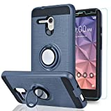 Alcatel OneTouch Fierce XL/Pop 3 5.5'/ Flint/Pixi Glory 4G LTE Case with HD Phone Screen Protector,Ymhxcy 360 Degree Rotating Ring & Bracket Dual Layer Resistant Back Cover for 5054-ZH Metal Slate