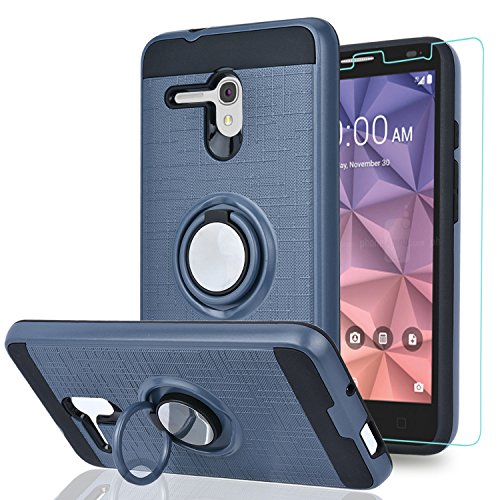 Alcatel OneTouch Fierce XL/Pop 3 5.5/ Flint/Pixi Glory 4G LTE Case with HD Phone Screen Protector,Ymhxcy 360 Degree Rotating Ring & Bracket Dual Layer Resistant Back Cover for 5054-ZH Metal Slate