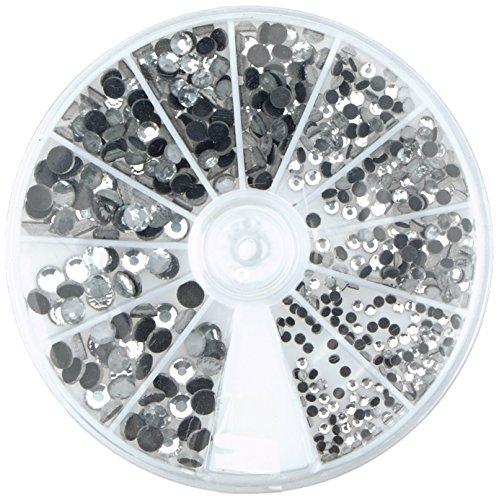 Rayher 15130801 Hotfix Strasssteine aus Glas, 2 - 5 mm ø gemischt, Farbe bergkristall, Box 580 St., Glas-Strasssteine, Schmucksteine zum Aufbügeln