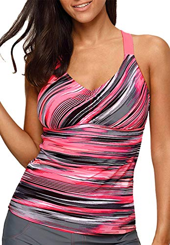 Aleumdr Womens 2018 Juniors Printed Strappy Racerback Padded Blouson Tankini Swim Top No Bottom Plus 2XL Size Multicoloured