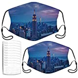 Face Mask Empire State Building at Night Breathable Kids and Adults Masks Set